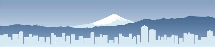 Fuji e cidade moderna de Japão Ilustração do Vetor