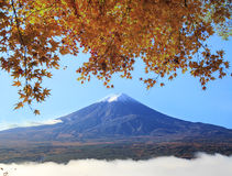 Fuji with fall colors in Japan Stock Photo