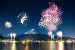 Fuji Firework. The cerebrate winter season at kawaguchiko lake Japan once of lake around Fuji mountain stock photography