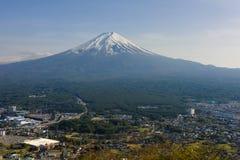 Fujisan mountain from top view Kawagchiko. Fuji or Fujisan mountain from top view of Kawagchiko Panorama Ropeway with blue sky, Landmark of Japan royalty free stock photos