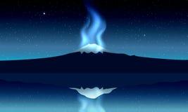 Fuji góra, noc panoramiczny widok z odbiciem na jeziorze, royalty ilustracja