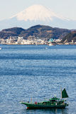Fuji with Japan fishinh boat on the firstplan. Stock Photography