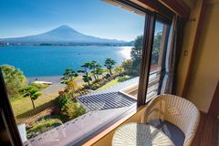 Fuji mountain and Kawaguchi lake. A view from a room overlooking the Kawaguchi lake and the Fuji mountain in the distance royalty free stock images