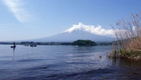 Fuji from Kawakuchi Lake. View of Fuiji Mountain in Japan from Kawakuchi Lake Royalty Free Stock Images