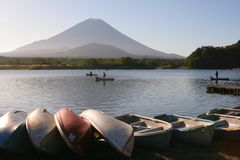 Fuji at the lake. Taken at Fuji on a lovely morning. Looks like a good day to go fishing, eh Stock Images
