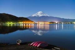 Fuji Lake Kawaguchiko at Night. Fuji Mountain and Boat at Night royalty free stock images