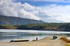Fuji and Lake Saiko. Fuji Mountain towers over Lake Saiko in Japan Royalty Free Stock Photos