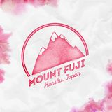Fuji logo. Round mountain red vector insignia. Fuji in Honshu, Japan outdoor adventure illustration. Climbing, trekking, hiking, mountaineering and other stock illustration