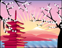 Fuji mount, sakura tree. Landscape with Fuji mount, sakura tree and Japan pagoda illustration in original style royalty free illustration