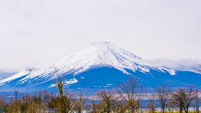 Fuji mount with snow on top in spring time at Yamanaka lake Royalty Free Stock Photo