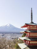 Fuji mountain background with red pagoda Stock Photos