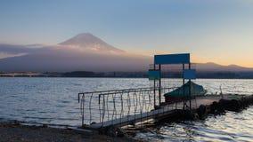 Fuji Mountain background sunset at Kawaguchi Lake royalty free stock images