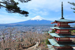 Fuji mountain. With blue sky & Pagoda Royalty Free Stock Photos