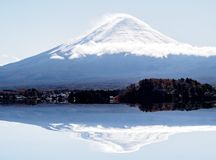 Fuji Mountain on blue sky with sunlight in the autumn royalty free stock images
