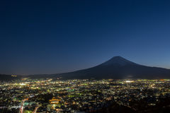 Fuji mountain with cityscape view. At night royalty free stock photography