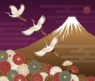 Fuji mountain, Cranes and Chrysanthemum flowers. Japanese traditional pattern Stock Images
