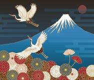 Fuji mountain, Cranes and Chrysanthemum flowers Royalty Free Stock Image