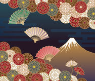 Fuji mountain, Hand-fan and Chrysanthemum flowers Stock Photos