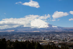 Fuji Mountain Japan. The Fuji Mountain in blue sky is very beautiful and freshness Stock Photo
