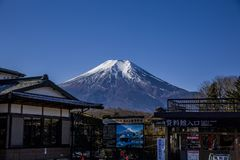 Fuji Mountain, Japan, filmed in mid-January stock photo