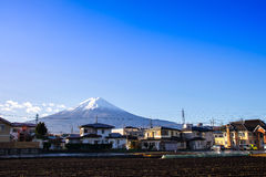 Fuji mountain and japanese house around kawaguchiko lake in autu Royalty Free Stock Photography