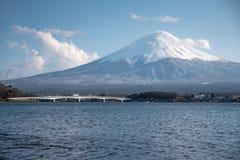 Fuji mountain and Kawaguchi lake, Japan. Scenic landscape of Fuji mountain Fujisan in spring season, beautiful snowcapped volcano and famous natural landmark of royalty free stock photography