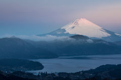 Fuji Mountain Lake Hakone Sunrise Stock Image