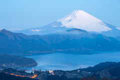 Fuji Mountain Lake Hakone Sunrise Stock Photo