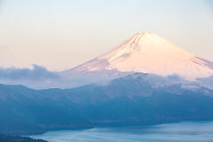 Fuji Mountain Lake Hakone Sunrise Stock Photo