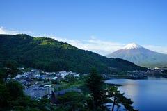 Fuji Mountain at lake Kawaguchi, Japan stock image