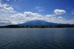 Fuji Mountain at lake Kawaguchi, Japan stock photography
