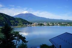 Fuji Mountain at lake Kawaguchi, Japan. Fuji Mountain with snow cap at lake Kawaguchi, Japan. During early morning time stock images
