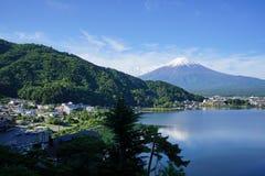 Fuji Mountain at lake Kawaguchi, Japan. Fuji Mountain with snow cap at lake Kawaguchi, Japan. During early morning time royalty free stock photo