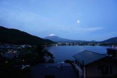 Fuji Mountain at lake Kawaguchi, Japan. Fuji Mountain with snow cap at lake Kawaguchi, Japan. During early morning time stock photo