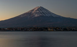 Fuji mountain and lake Kawaguchiko in early morning. royalty free stock images