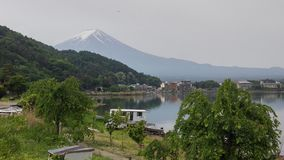 Fuji Mountain and lake kawaguchiko stock image