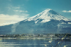 Fuji. Mountain with lake and sky Stock Images