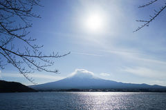 Fuji mountain and lake view in the morning Stock Photo