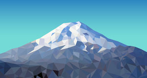 Fuji mountain. Low polygon blue sky Stock Images