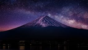 Fuji mountain with milky way at night.  Royalty Free Stock Photo