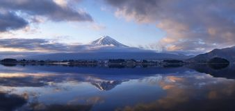 Fuji Mountain Morning on Lake Kawaguchi Panorama royalty free stock image