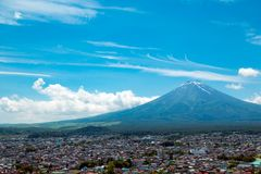 Fuji mountain with nice blue sky in summer season which view from Shimoyoshida Pagoda royalty free stock image
