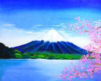 Fuji mountain painting Stock Photos