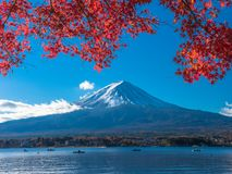 Fuji mountain with red maple leaf and tourism on boat in the lake. Fuji mountain with red maple leaf and the fishermen are fishing on the boat with many tourism Stock Photography
