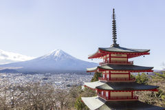 Fuji mountain with red pagoda Royalty Free Stock Image