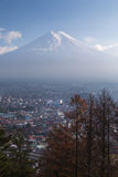 Fuji mountain with residence downtown aerial view Royalty Free Stock Images