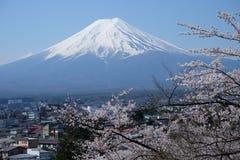 Fuji mountain and Sakura bloomimg at the entrace of Chureito Pagoda, Japan Royalty Free Stock Photography