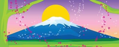Fuji mountain and sakura on Sunset. Vector Illustration Stock Photo