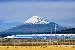 Fuji Mountain and Shinkansen Bullet Train Royalty Free Stock Images