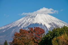 Fuji mountain with snow cap. Stock Photo